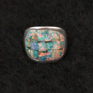 Jewelry - VINTAGE STERLING SILVER RING WITH OPAL INLAID